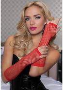 Elbow Fishnet Gloves - Red - Os